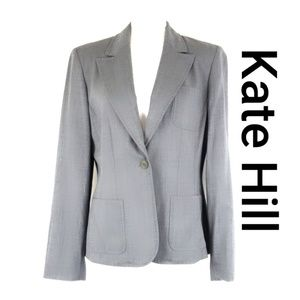 Kate Hill Womens Blazer Jacket Wool Gray Size 10